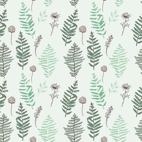 Fern Seamless Pattern. Botanical Illustration with Fern Leaves on White Background. Design Elements- esk1m0-Art Print