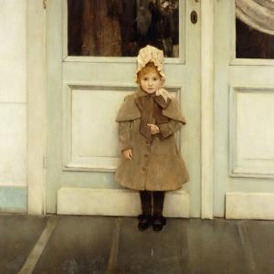 Portrait of Jeanne Kefer, at a Door Wearing a Pink Bonnet and Grey Coat by Fernand Khnopff