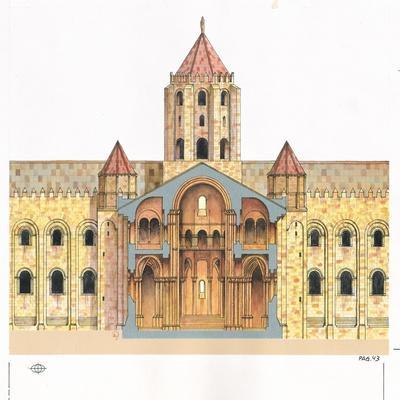 Santiago De Compostela Romanesque Cathedral, Cross Section, Spain