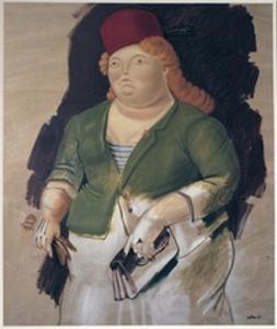 Mujer con Sombrero Rojo by Fernando Botero