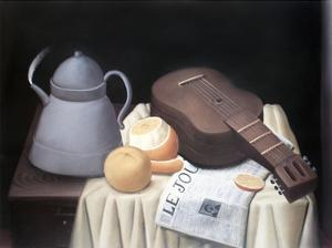 Still Life with Newspaper by Fernando Botero