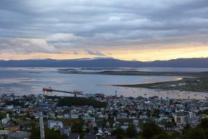 Overview of Ushuaia during sunset, Tierra del Fuego, Argentina, South America by Fernando Carniel Machado