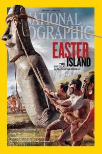 """Ancient Easter Islanders Used Ropes to """"Walk"""" the Moai Statues. Ngm July 2012 Cover by Fernando G. Baptista"""