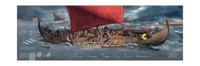 Illustration Depicting Viking Ships Dominating the Seas of Northern Europe, 8th to 11th Century