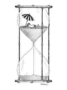 Man on beach in top half of houglass. - New Yorker Cartoon by Fernando Krahn