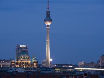 Fernsehturm, Television Tower, Telespargel, Evening, Berlin, Germany, Europe-Martin Child-Photographic Print