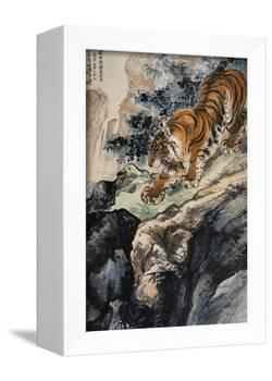 Ferocious Tiger Stalking a Mountain Path-Zhang Shanzi-Framed Premier Image Canvas