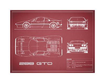 Ferrari 288-GTO-Maroon-Mark Rogan-Giclee Print
