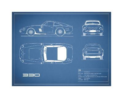 Ferrari 330-Blue-Mark Rogan-Giclee Print