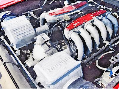 Ferrari 512 TR Testarossa Engine Watercolor-NaxArt-Art Print