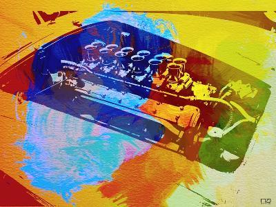 Ferrari Engine Watercolor-NaxArt-Art Print