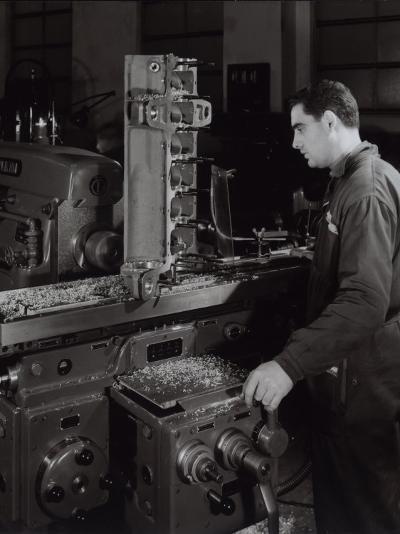 Ferrari Factory, a Worker Monitoring Machinery-A^ Villani-Photographic Print