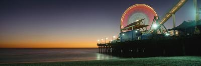 Ferris Wheel and Rollercoaster at Dusk on the Santa Monica Pier-Design Pics Inc-Photographic Print