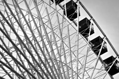 Ferris Wheel Bw-John Gusky-Photographic Print