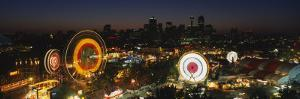 Ferris Wheels Lit Up at Night, Calgary Stampede, Calgary, Alberta, Canada