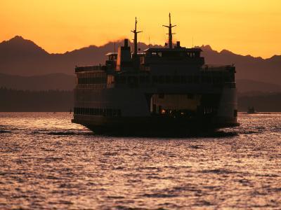 Ferry Boat at Sunset, Washington, USA-David Barnes-Photographic Print