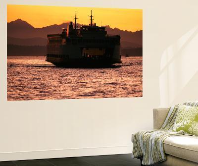 Ferry Boat at Sunset, Washington, USA-David Barnes-Giant Art Print