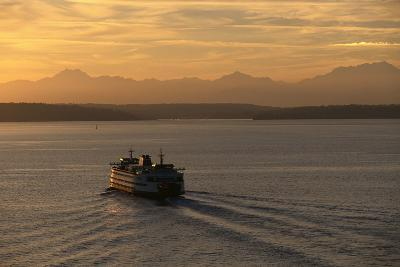 Ferry Boat in Elliot Bay-Paul Souders-Photographic Print