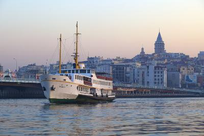 Ferry Boat in Golden Horn with Galata Tower in Background, Istanbul, Turkey, Europe-Neil Farrin-Photographic Print