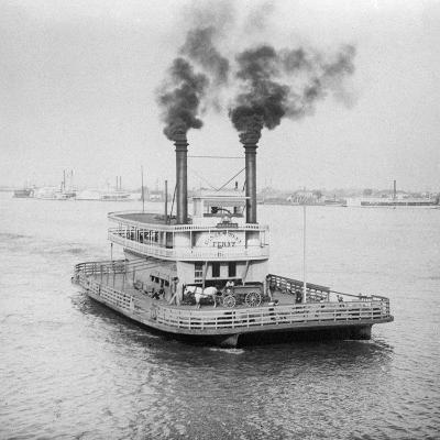 Ferry Boat on the Mississippi River--Photographic Print