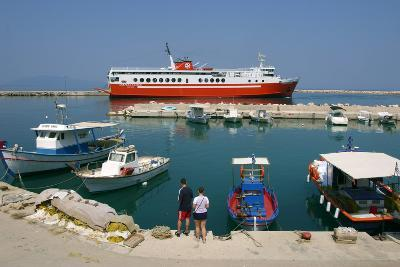 Ferry in the Harbour of Poros, Kefalonia, Greece-Peter Thompson-Photographic Print