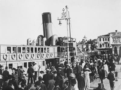 Ferry lands passengers on the island of Prinkipo off the coast of Istanbul, c.1920