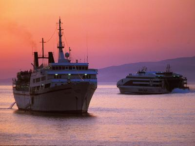 Ferry & Marine Traffic at Mykonos Harbor, Greece-Walter Bibikow-Photographic Print