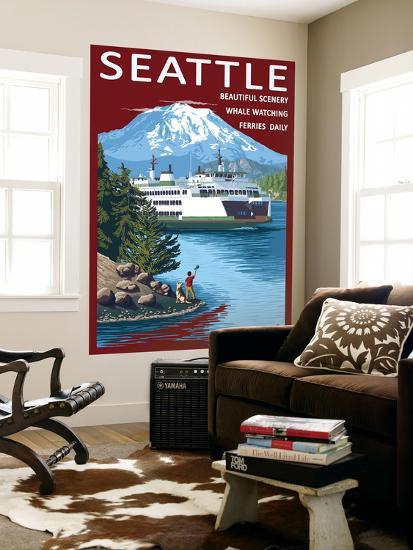 Ferry & Mount Rainier Scene - Seattle, Washington-Lantern Press-Wall Mural
