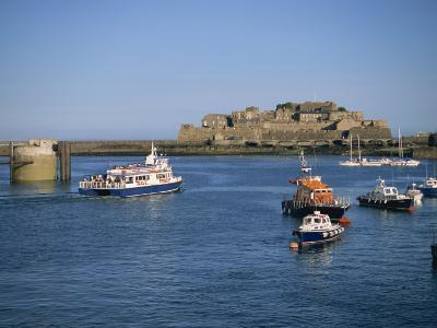 Ferry Passing Castle Cornet, St. Peter Port, Guernsey, Channel Islands, United Kingdom, Europe-Lightfoot Jeremy-Photographic Print