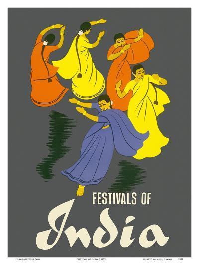Festivals of India - Classical Indian Dancers-Pacifica Island Art-Art Print