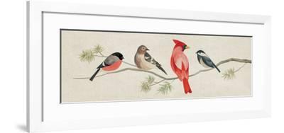 Festive Birds Panel I Linen-Danhui Nai-Framed Art Print