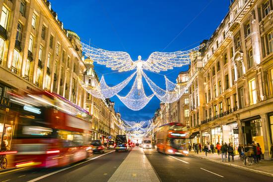 England Christmas Lights.Festive Christmas Lights In Regent Street In 2016 London England United Kingdom Europe Photographic Print By Fraser Hall Art Com