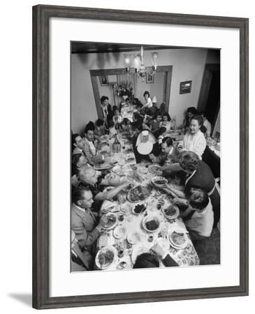 Festive Spread Through Dining Room at La Falce Family Reunion-Ralph Morse-Framed Photographic Print