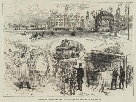 Festivities at Thoresby Hall, in Honour of the Majority of Lord Newark-Charles Robinson-Giclee Print
