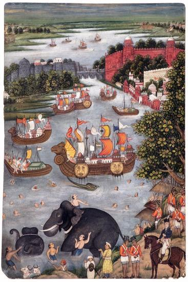 Festivities on a River, C.1825--Giclee Print
