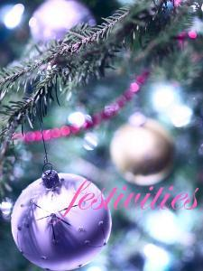 Festivities over Christmas Ornaments on Tree