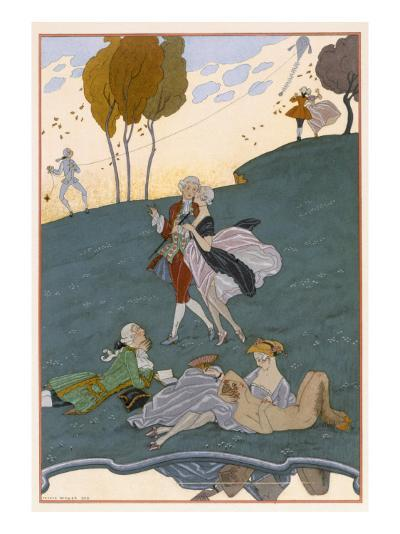 Fetes Galantes, Illustration for 'Fetes Galantes' by Paul Verlaine-Georges Barbier-Giclee Print
