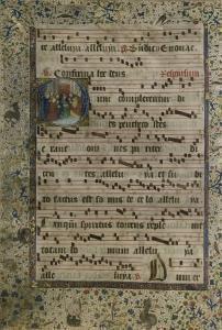 Feuillet d'un Antiphonaire : initiale D avec figuration de la Pentecôte