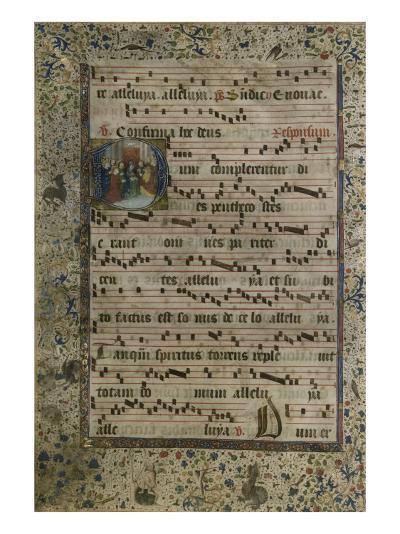 Feuillet d'un Antiphonaire : initiale D avec figuration de la Pentecôte--Giclee Print
