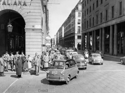 Fiat 600 Multipla Leading a Procession of Fiats, Italy, (Late 1950S)--Photographic Print