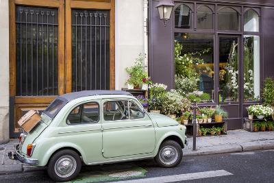 Fiat on the Sidewalk at the Florist Shop, les Marais, Paris, France-Brian Jannsen-Photographic Print