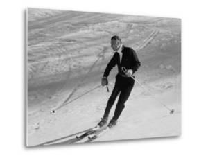 Fiat President Giovanni Agnelli Skiing Slopes Near His Sestriere Ski Resort