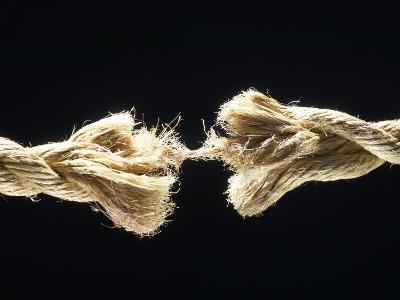 Fiber Rope Against Black Background--Photographic Print