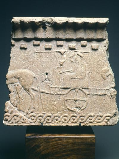 Fictile Tablet Depicting Pair of Princes in Chariot Procession, from the Murlo Residence in Siena--Photographic Print