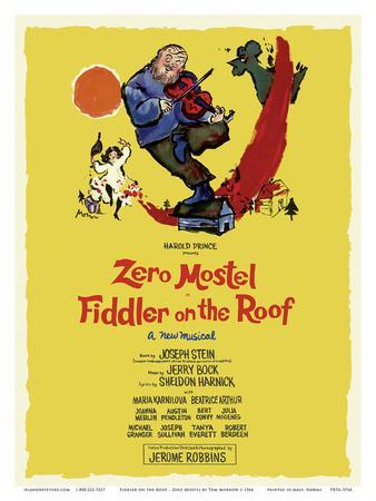 Fiddler on the Roof - Starring Zero Mostel - Musical by Harold Prince-Tom Morrow-Art Print