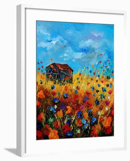 Field Flowers And Old Barn - Poppies-Pol Ledent-Framed Art Print