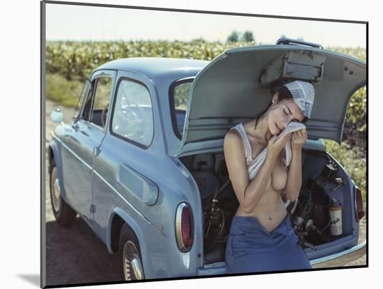 Field, Heat, Girl and Car.-David Dubnitskiy-Mounted Photographic Print
