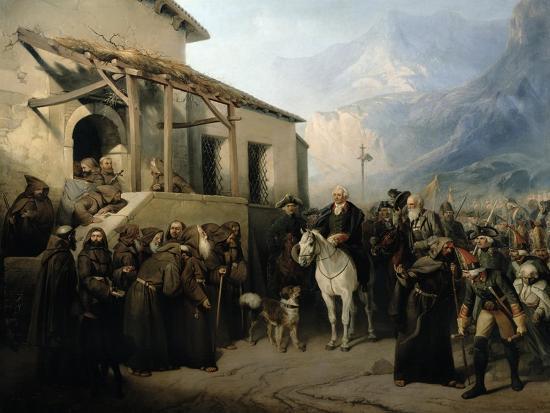 Field-Marshal Alexander Suvorov on the St Gothard Summit, 13th September 1799, 1855-Adolf Jossifowitsch Charlemagne-Giclee Print