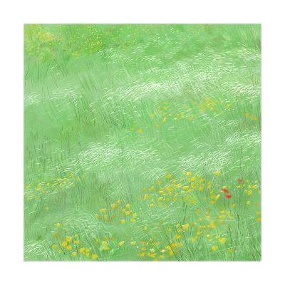 Field of Tall Grass with Yellow Flowers Scattered Throughout--Art Print