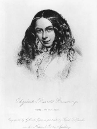 Portrait of Elizabeth Barrett Browning (1806-61) in 1859, Engraved by G. Cook